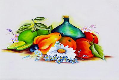 """""""pano de copa com pintura de frutas e garrafao"""""""