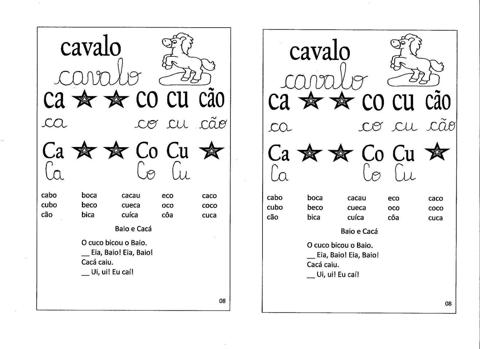 Amado A Magia do Aprender/Ensinar: Ficha de leitura com as silabas simples. IO33