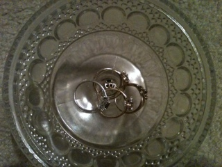 jewelry in a glass bowl