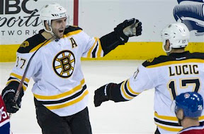 Patrice Bergeron and Milan Lucic celebrate Bergeron's goal for the Bruins