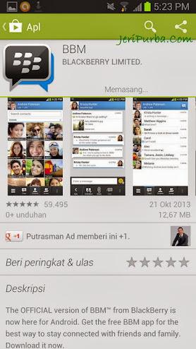 Proses Pemasangan Aplikasi BBM For Android Berjalan