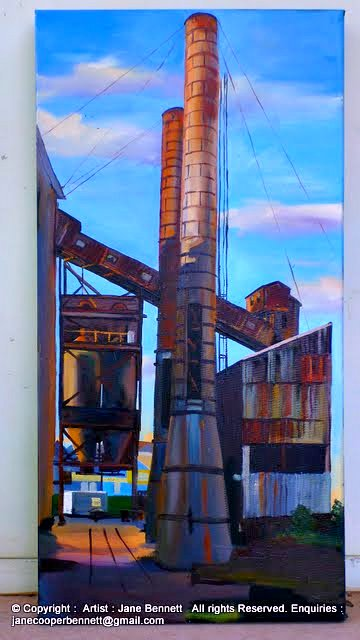 Urban decay in the Bays Precinct - plein air oil Painting of White Bay Power Station by industrial heritage artist Jane Bennett