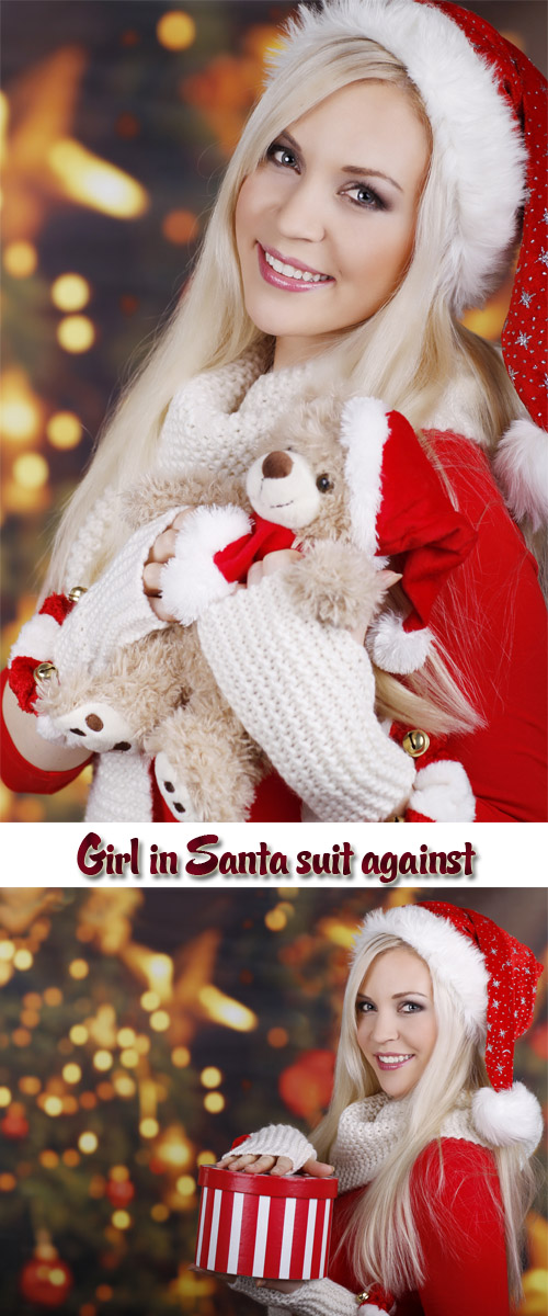 Stock Photo: Girl in Santa suit against New Years fires