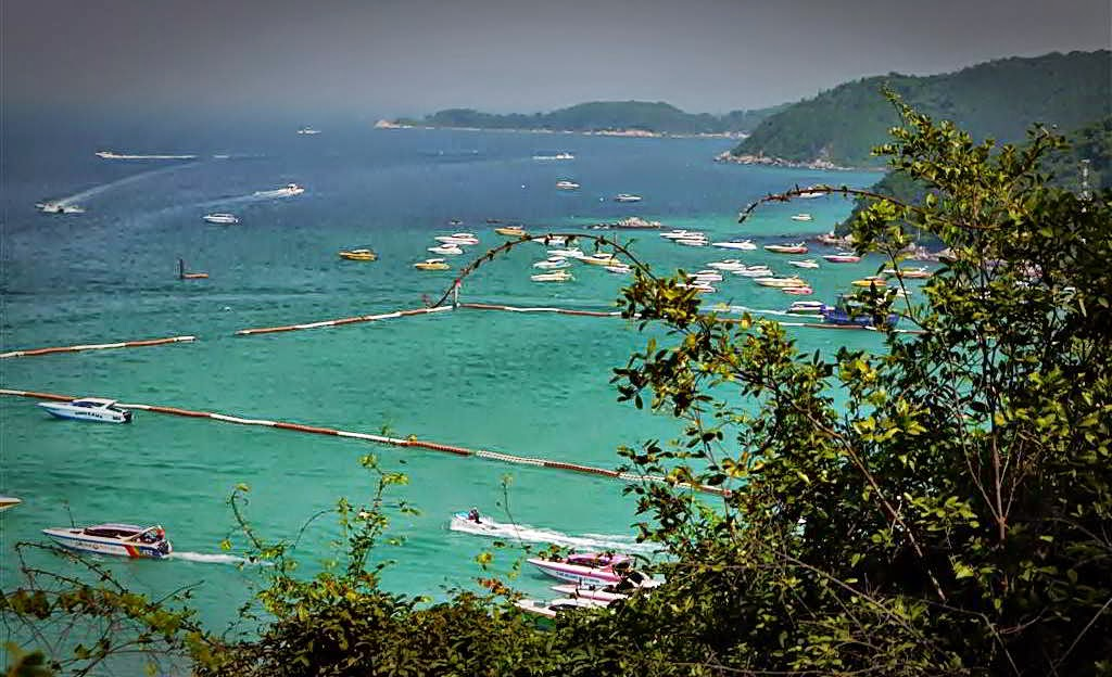 View from above Tawaen Beach, koh Lahn Thailand
