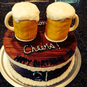 Beer Mugs Cheers 21st Birthday Cake