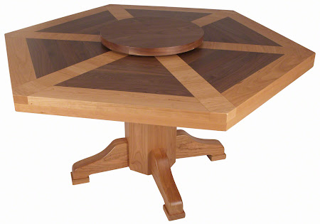 "66"" Diameter, 6 Sided Savoy Table with Custom Mixed Wood Top in Natural Cherry and Walnut"
