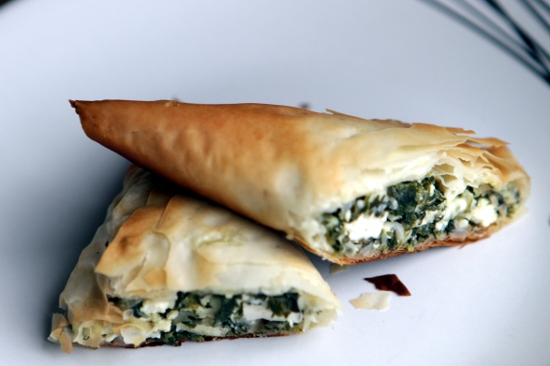 Spanakopita stuffed with tofu, feta cheese, and eggs.