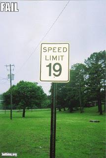 unreasonable speed limit, 19 mph