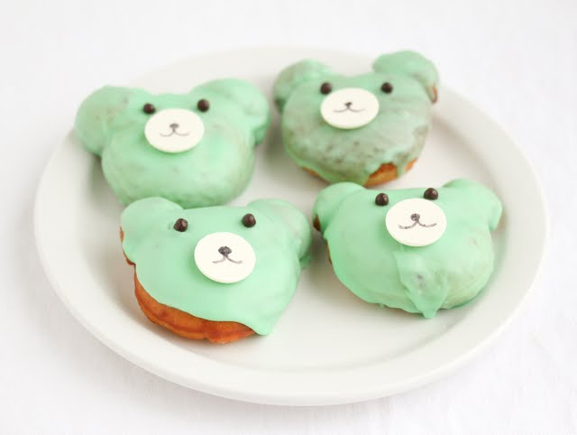 photo of four bear-shaped donuts on a plate