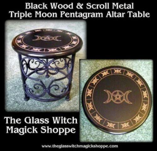 Black Wood And Scroll Metal Triple Moon Pentagram Altar Table Ih - 89 00