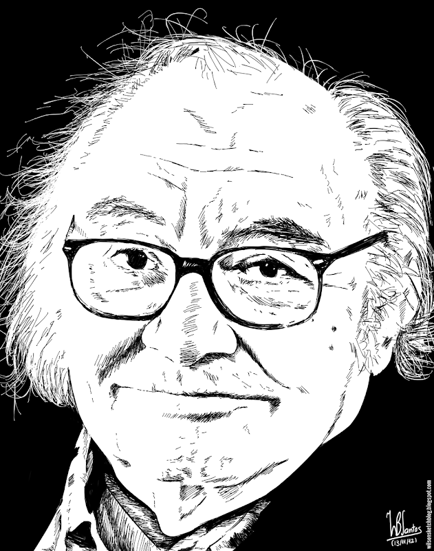 Ink drawing of António Vitorino D'Almeida, using Krita 2.4.