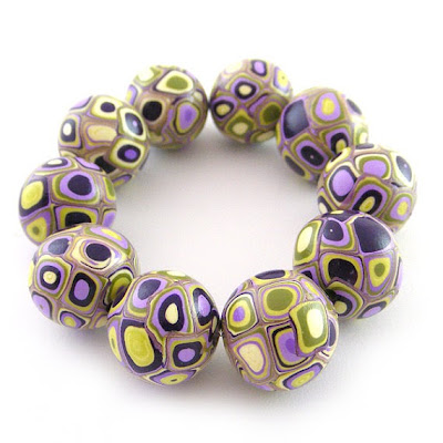 Wasabi and Purple Retro Polymer Clay Beads by Rolyz Creations