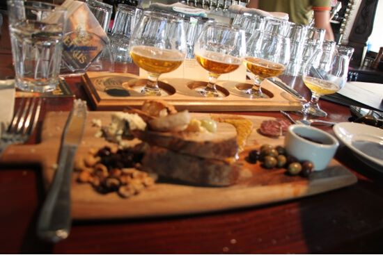 Meat and cheese board and beer flight at Monk's Kettle.