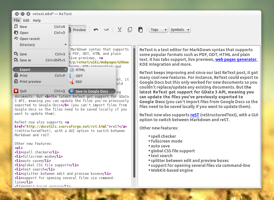 ReText Gets Improved Google Docs Export, More ~ Web Upd8: Ubuntu