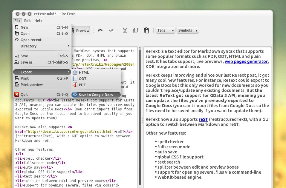 ReText Gets Improved Google Docs Export, More ~ Web Upd8: Ubuntu