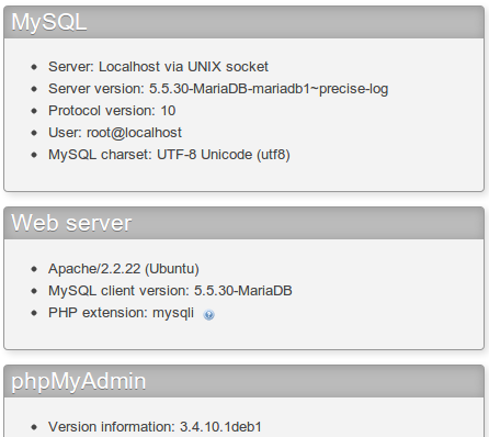 phpMyAdmin membaca database MariaDB 5.5.30 di Ubuntu 12.04