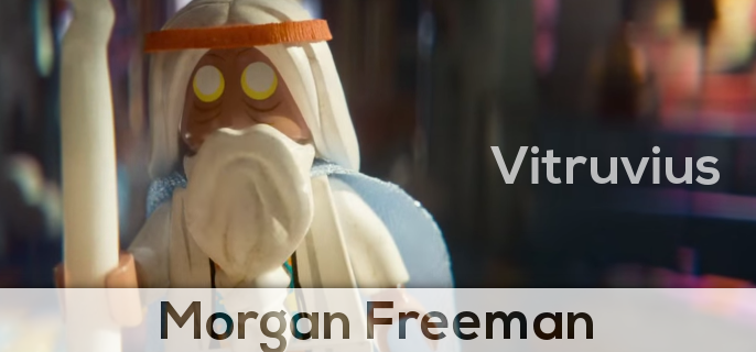 Morgan Freeman plays as Vitruvius in the lego movie, basically god