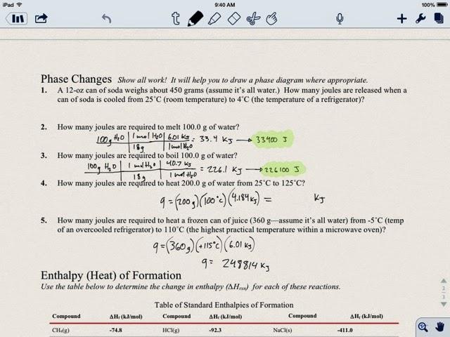 Chemistry Jack Delta H Enthalpy Phase Changes Worksheet – Enthalpy Worksheet
