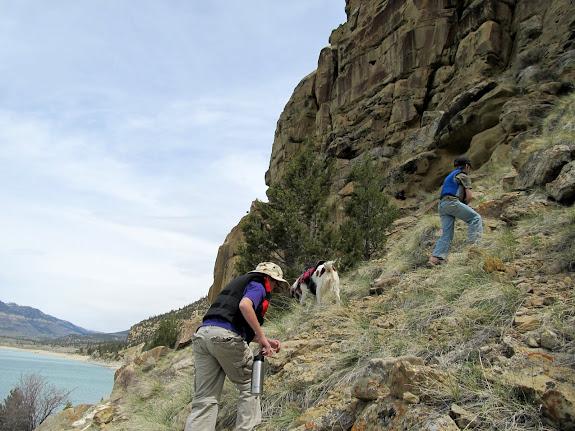 We scrambled around below the cliffs after lunch