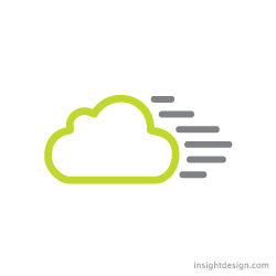 qCloud logo design represents a quicker cloud connection.