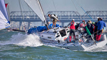 J/125 Resolute- owner Tim Fuller sailing in San Francisco at Big Boat Series
