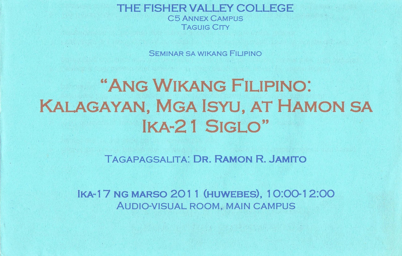 The fisher valley college seminar sa wikang filipino 0 comments yadclub Gallery