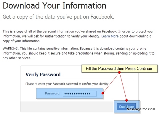 Verify Password Download Your Information