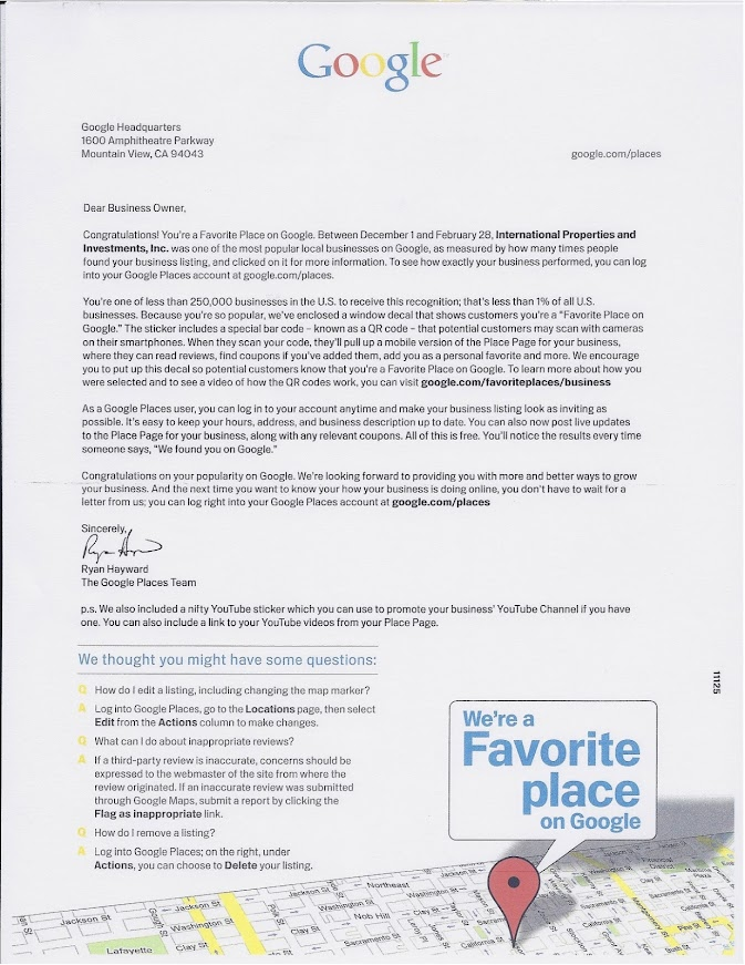 Google Award Letter for Google Places