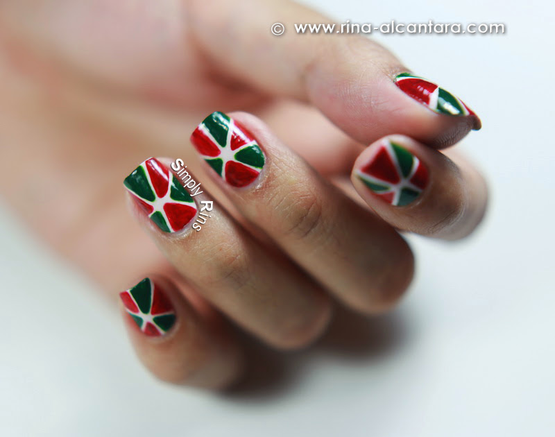 Christmas Pinwheel Nail Art Design by Simply Rins