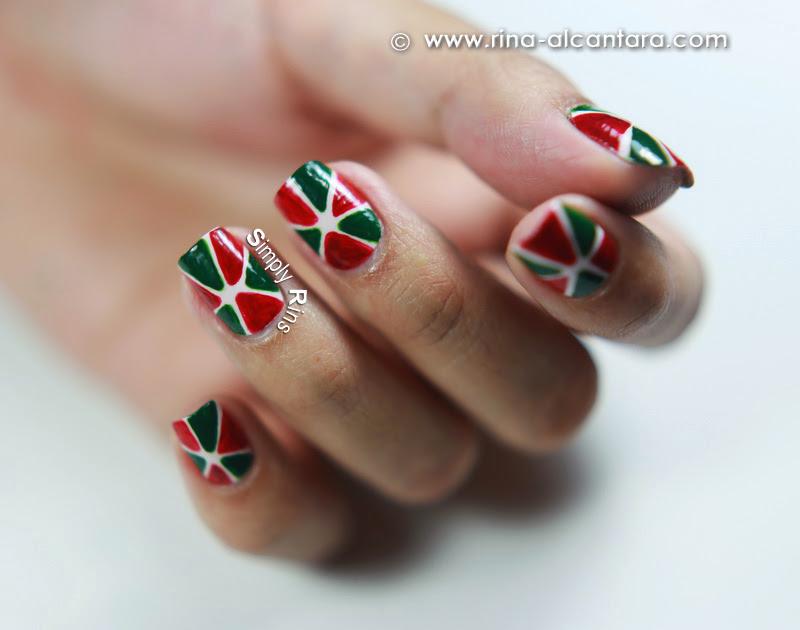 Christmas Pinwheel Nail Art Design by Simply Rins