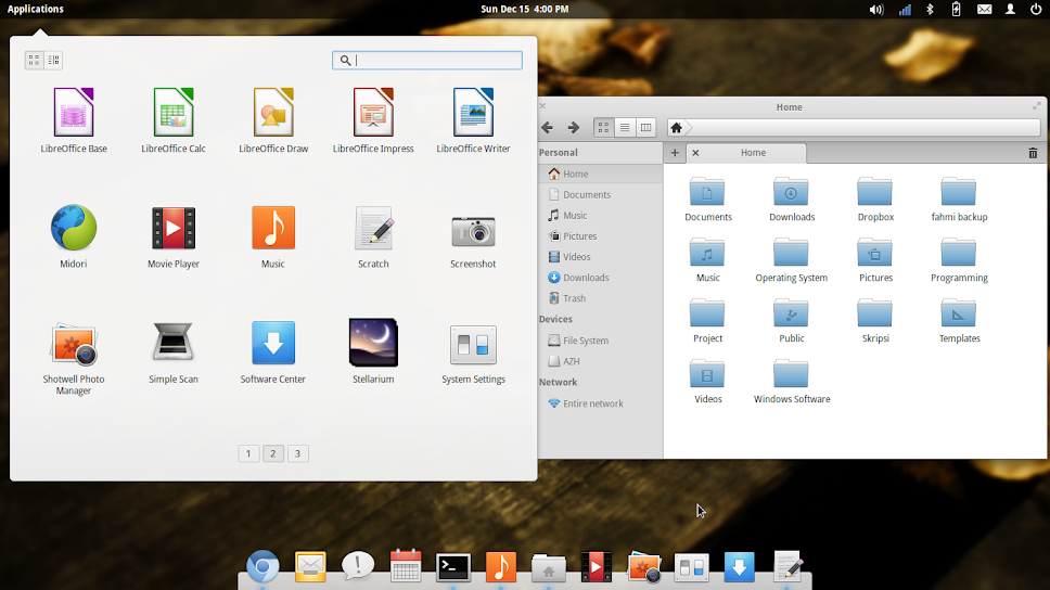 pantheon file browser dan menu aplikasi elementary os