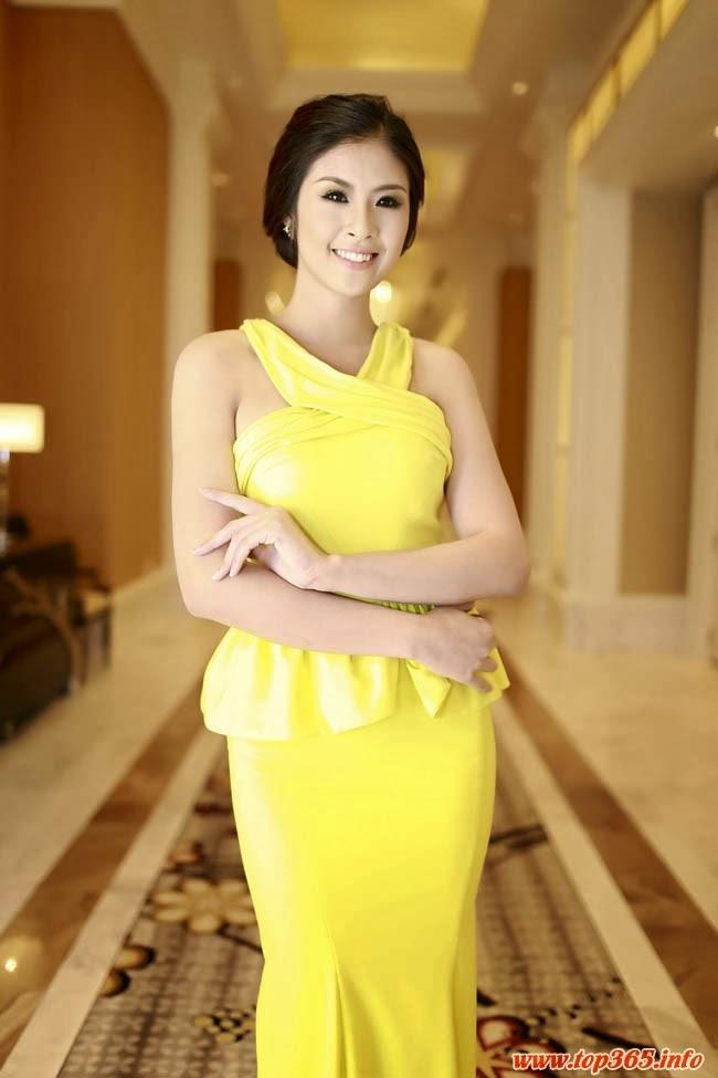 Hoa hậu Ngọc Hân gợi cảm với sắc vàng quyến rũ