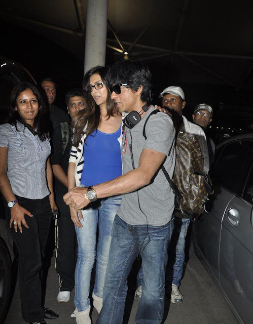Hot Deepika Padukone Latest Pics With SRK At Airport