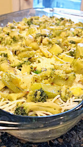 Breakfast Casserole Recipe - cooked celery, onion, Aidell's chicken bacon pineapple sausage, a layer of Emmenthel swiss, and then roasted broccoli before adding the 3 eggs/1 cup milk. Let  refrigerate overnight to marry flavors