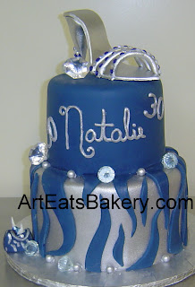 Two tier silver and blue animal print fondant unique birthday cake design with zebra stripes, shoe, faux diamonds and purse