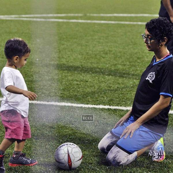Kiran Rao plays with Azaad Khan during a charity soccer match organised by Ira Khan, at Cooperage ground, on July 20, 2014.(Pic: Viral Bhayani)