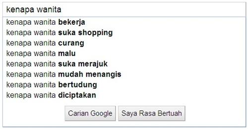 Google search kenapa wanita