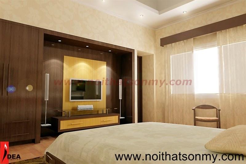 Thiết kế nội thất phòng ngủ có tủ âm tường