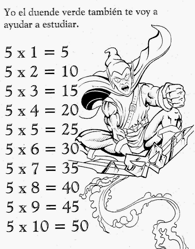 Tabla de multiplicar del 5 para colorear