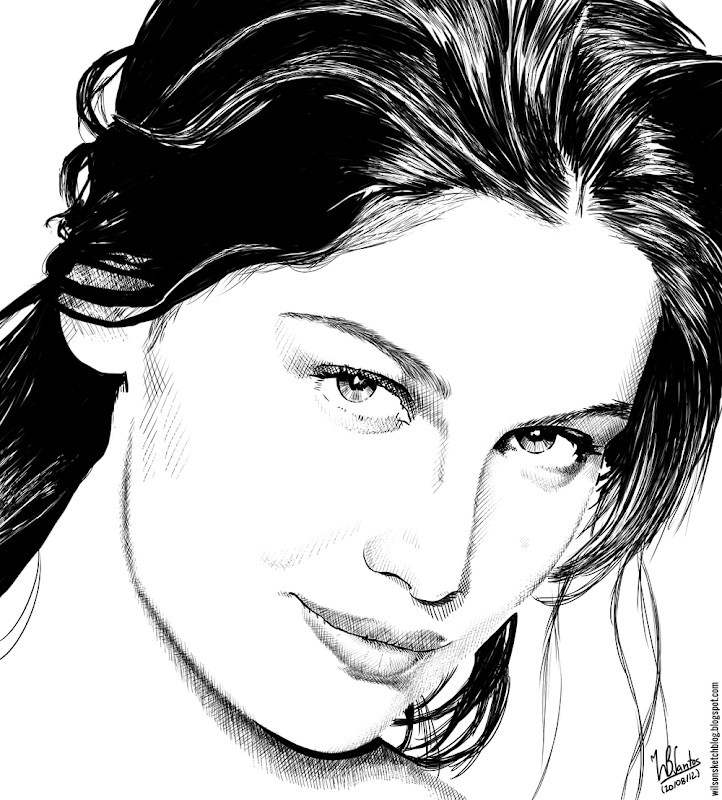 Ink drawing of Laetitia Casta, using Krita 2.4.