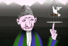 Karikatur: Karzai balanciert Käfig mit Friedenstaube.