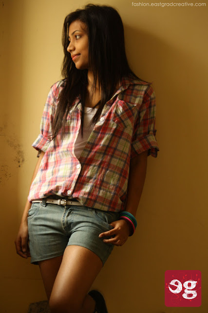 Hot shorts and check shirt for a casual day.