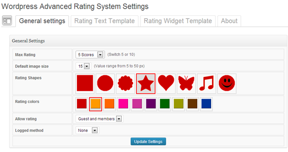 Wordpress Geavanceerde Rating System Settings Algemene instellingen Beoordeling tekst Template Rating widgetsjabloon Over Instellingen Max Rating image sue Rabag Sles Scores