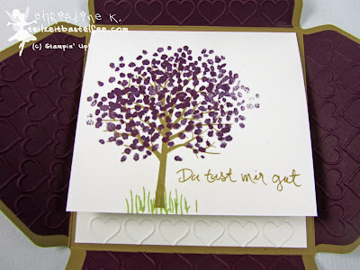 Stampin' Up! Baum der Freundschaft, Sheltered Tree, Prägeform Herzen, Embossing Folder Happy Hearts, Framelits Hearts, Envelope Punch Board