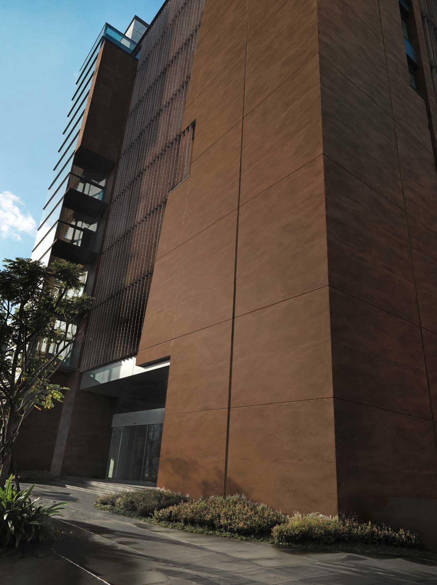 Brown ceramic tile building facade