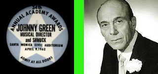 Composer Johnny Green and his Oscar ceremony badge identifying him as 'Musical Director and Shmuck'