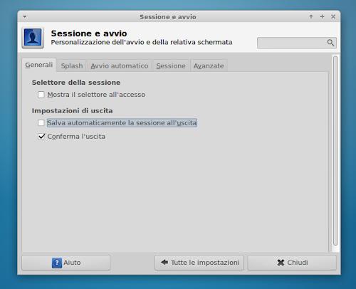 Xfce - Sessione ed Avvio