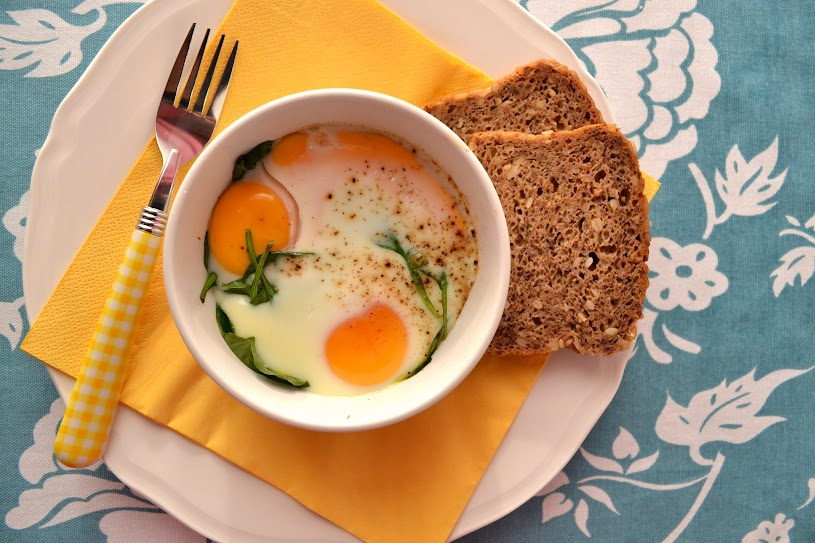 baked eggs spinach smoked fish