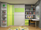 Dormitorios con estanterias, armario, baldas, mesa de estudio y cama abatible
