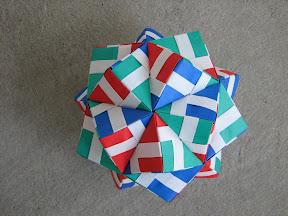 "Icosahedron from Striped Sonobe unit from Meenakshi Mukerji's ""Marvelous Modular Origami""."